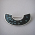 Silver & Black/Blue Enamel Moon Brooch  -  BH27
