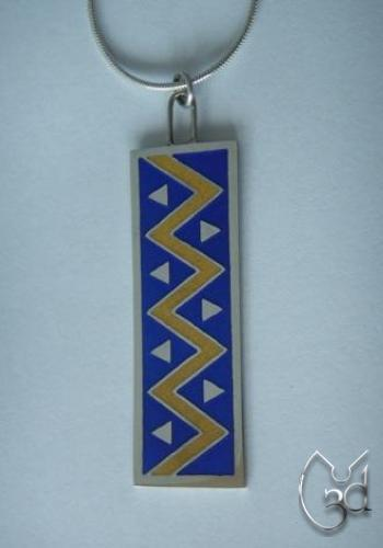 Silver & Blue/Yellow Enamel Chevron Pendant Necklace - N51
