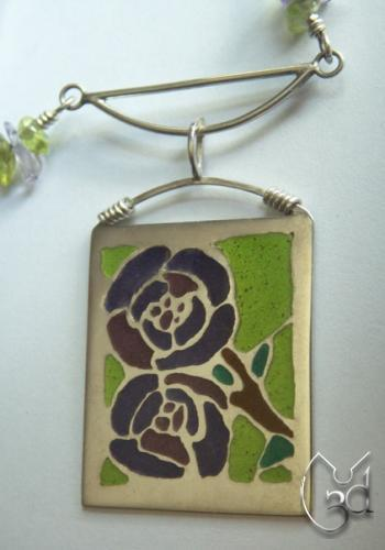 Silver & Violet/Purple/Green Enamel Rose Necklace - N52
