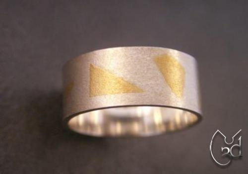 Silver & 24ct Gold Print Ring - R53