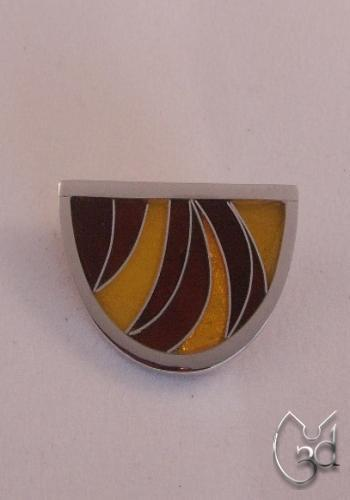 Silver & Red/Yellow Enamel Brooch - BH32